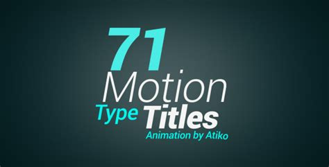 Motion Type Title Animations By Atiko Videohive Motion Title Templates