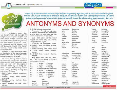 ಬ ದ ರ ಭ ಷ antonyms and synonyms part 1 vijayavani