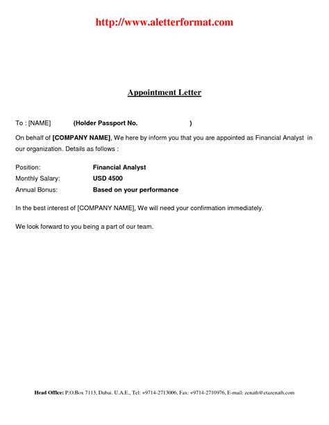 general appointment letter template appointment letter sle for general manager letter of