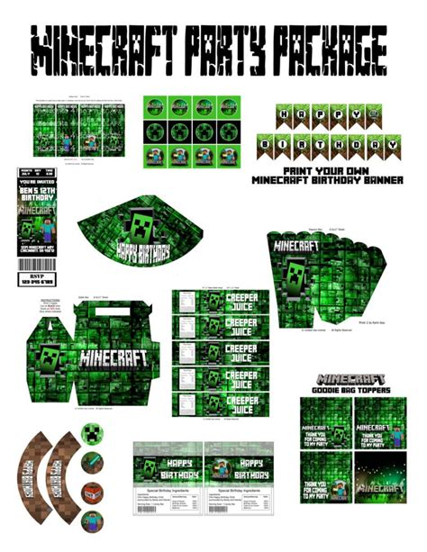 minecraft party invitations template fresh lots of printables