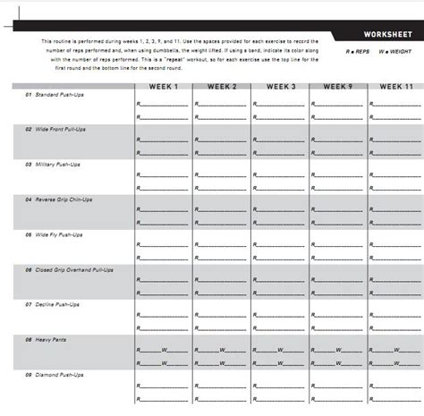 Workout Worksheet by P90x Chest And Back Worksheet Lesupercoin Printables