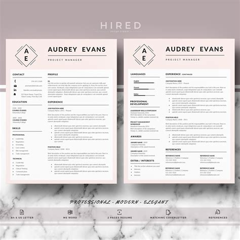 12 professional resume templates in word format xdesigns