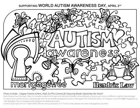 color for autism autism awareness colouring contest mortgage tree