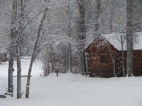 cabin in the snow photograph by kathy ricca