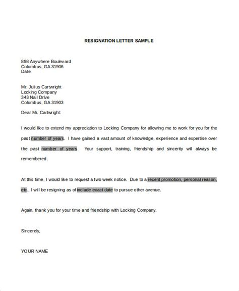 Professional Resignation Letter Sle Word Document Resignation Letter 6 Free Word Documents Free Premium Templates