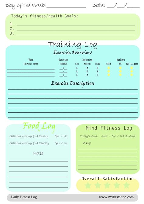 printable fitness journal pages free printable fitness logs