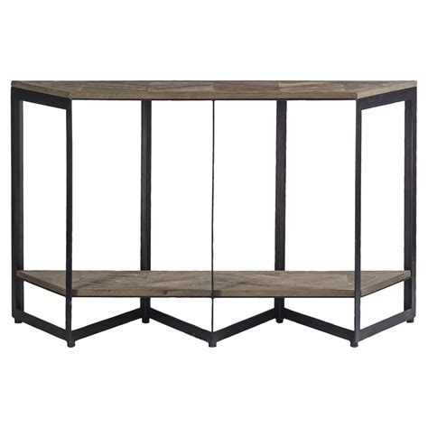 Ron Rustic Loft Herringbone Iron Pine Sofa Table Kathy Pine Sofa Tables