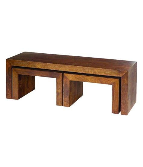 Wood Stool End Table by Silver Pine Brown Solid Wood End Table With Stools Buy