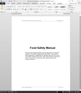 food safety manual template fsms prerequisite program prp log template
