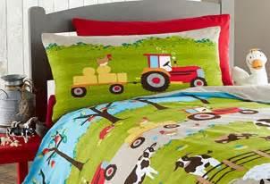 Tractor Bedding Set Farm Yard Animal Pig Cow Sheep Tractor Single Duvet
