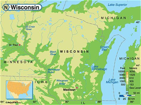 physical map of wisconsin wisconsin physical features map swimnova