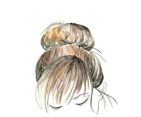 doodle hair bun watercolor sketch hair bun 8 x 10 by