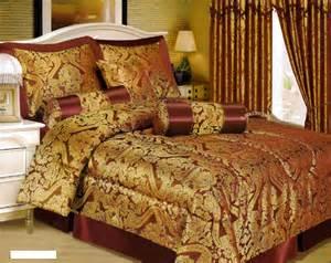 Venetian Comforter New 7pc Burgundy Gold Queen Bed In A Bag Comforter Set
