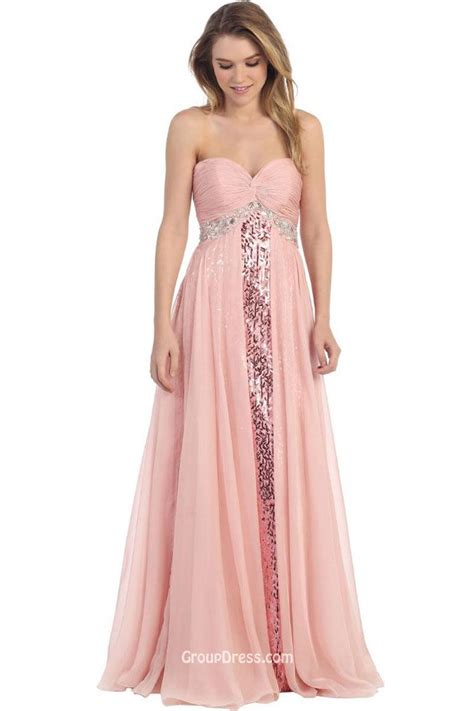 strapless beaded prom dress princess strapless sweetheart beaded pink chiffon