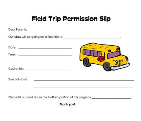 Field Trip Form Template sle permission slip 14 documents in word pdf