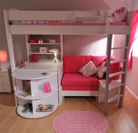 bunk bed sofa and desk stompa casa 4 white loft bed with desk and pink sofa bed