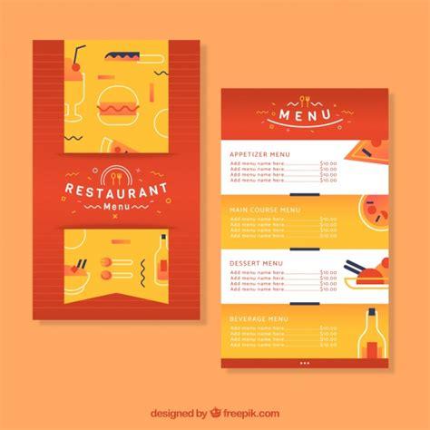 flat design menu exles restaurant menu template in flat design vector free download