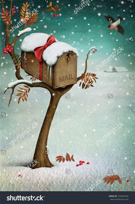 mailbox  winter forest fabulous illustration