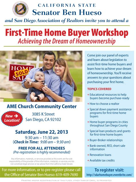 Free Time Home Buyer Workshop by Senator Ben Hueso