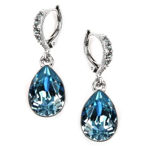 givenchy silver tone aqua and sapphire teardrop