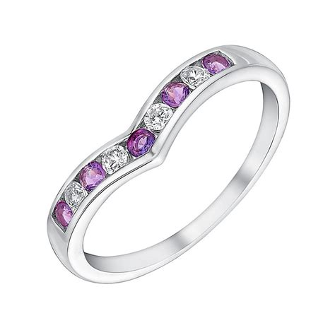 9ct white gold cubic zirconia amethyst eternity ring h