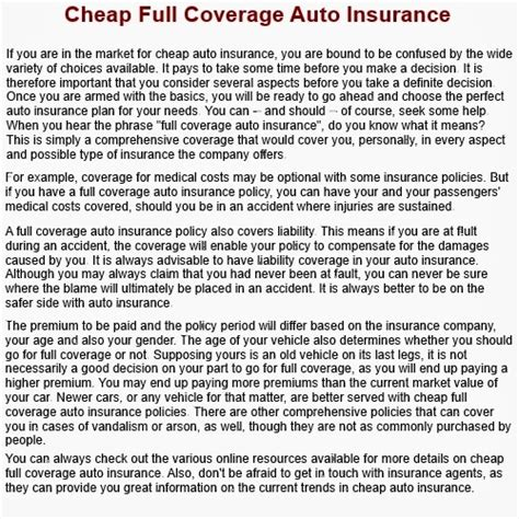 Cheap Full Coverage Car Insurance ?   theonebestway103