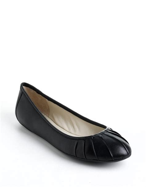 leather ballet flats nine west blustery pleated leather ballet flats in black
