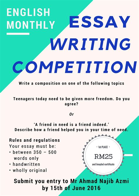 essay writing competition june 2016 smka pahang