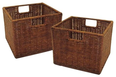 Decorative Storage Containers Small Storage Baskets Set Of 2 Contemporary