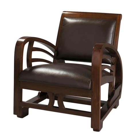 leather armchair split leather armchair in brown charleston maisons du monde