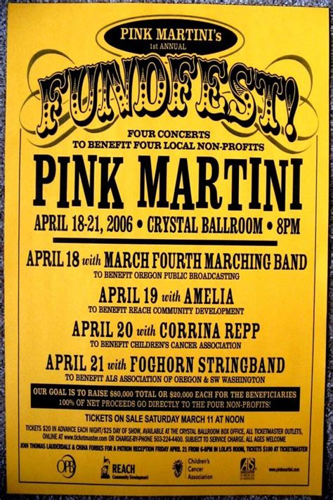 pink martini poster pink martini portland oregon 2006 concert posters