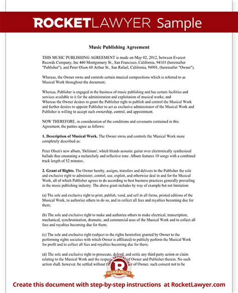 publishing agreement template publishing agreement free form with sle