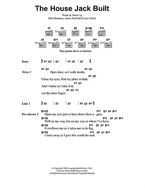 the house that built me chords the house jack built sheet music by metallica lyrics