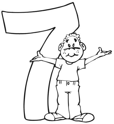 7 Year Boy Coloring Pages Free Birthday Coloring Page A Boy Standing Beside The Number 7 by 7 Year Boy Coloring Pages Free