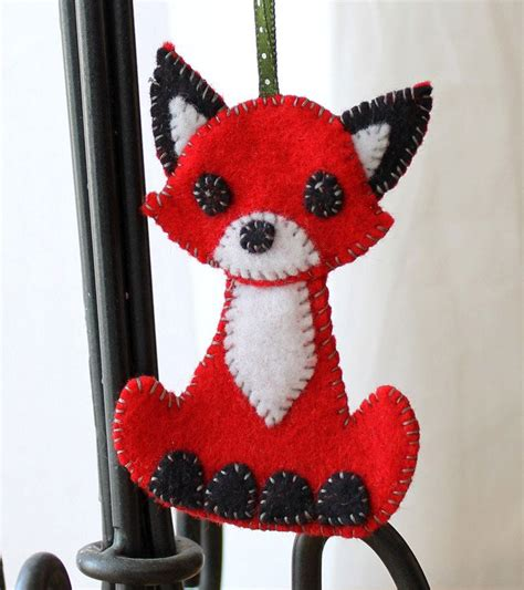 fox felt christmas ornament handmade   etsy