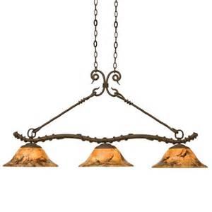 Wrought Iron Island Lighting Vine Wrought Iron Three Light Hanging Island Table Pendant