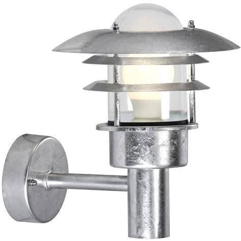 Galvanized Outdoor Lights Garden Wall Light Ip44 Insulated Galvanized Finish