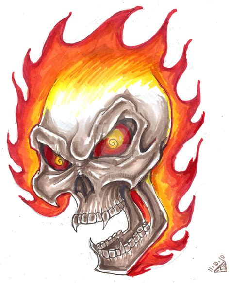 flaming skull design by rawjawbone on deviantart