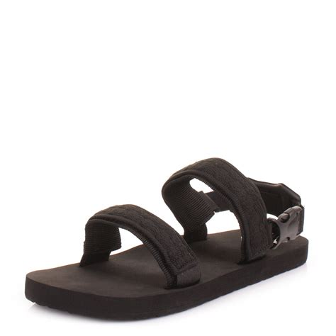 black sandals mens reef convertible black velcro woven strap beach