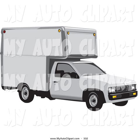 nissan white truck clip art of a white nissan moving truck on white by david