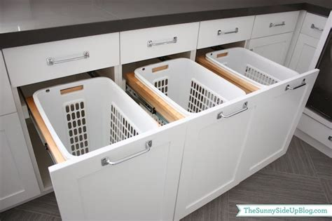 Laundry Room Storage Bins Pull Out Her Bins Transitional Laundry Room Side Up