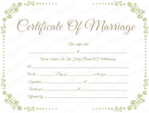 marriage license template marriage certificate template with flowers border