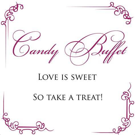 Simple Wedding Candy Buffet Sign Digital File Buffet Signs Templates