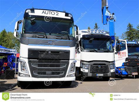 new volvo truck range white volvo and renault trucks editorial stock photo