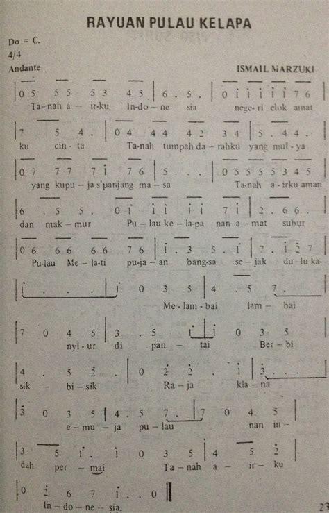angka pianika lagu rayuan pulau kelapa