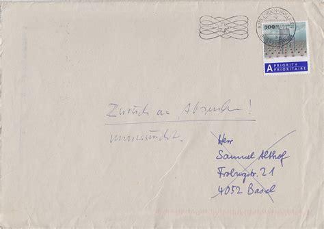 Brief Schweiz Adressieren Akdh 2008 Samuel Althof Will Nicht Lesen