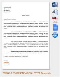 Recommendation Letter For My Friend Sle Reference Letters 17 Free Documents In Pdf Word