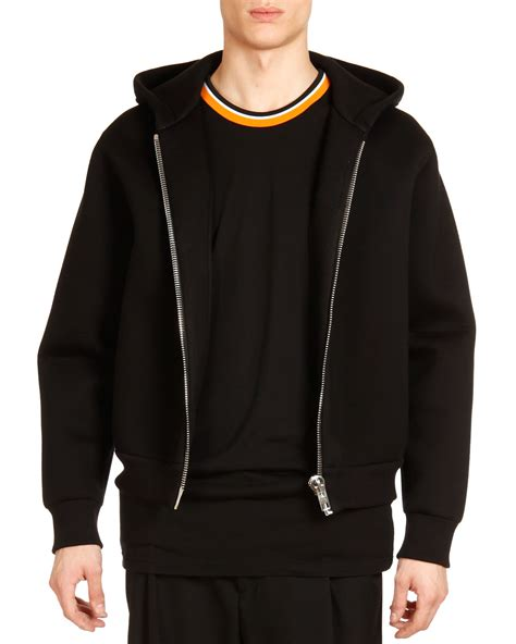 black zipper hoodie givenchy neoprene big zipper hoodie in black for men lyst