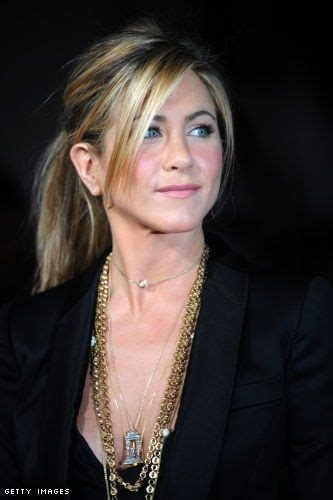 jennifer aniston triangle bangs pony up slide 2 jennifer aniston ponytail and fringes
