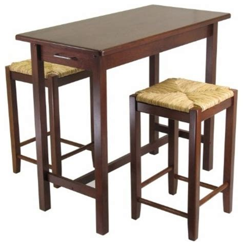 kitchen island table with 2 seat stools set of 3